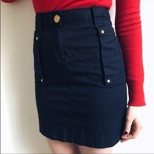 Tory Burch women's pencil navy blue skirt